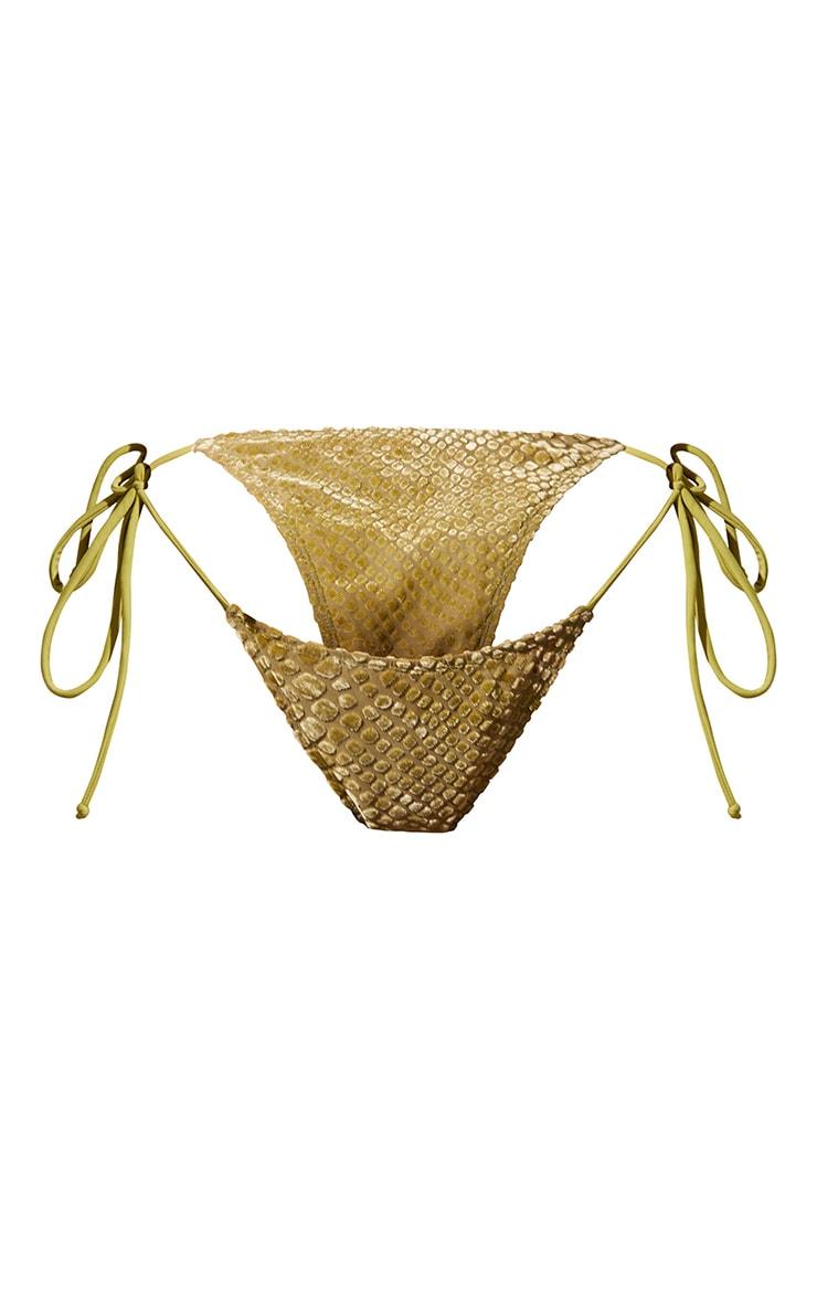 Olive Devore Tie Side Bikini Bottoms 5