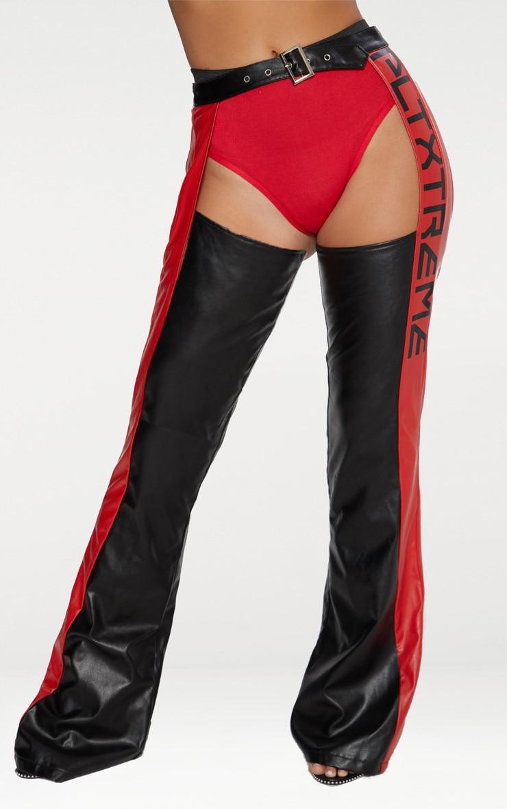 Black Faux Leather Chap Trouser 2