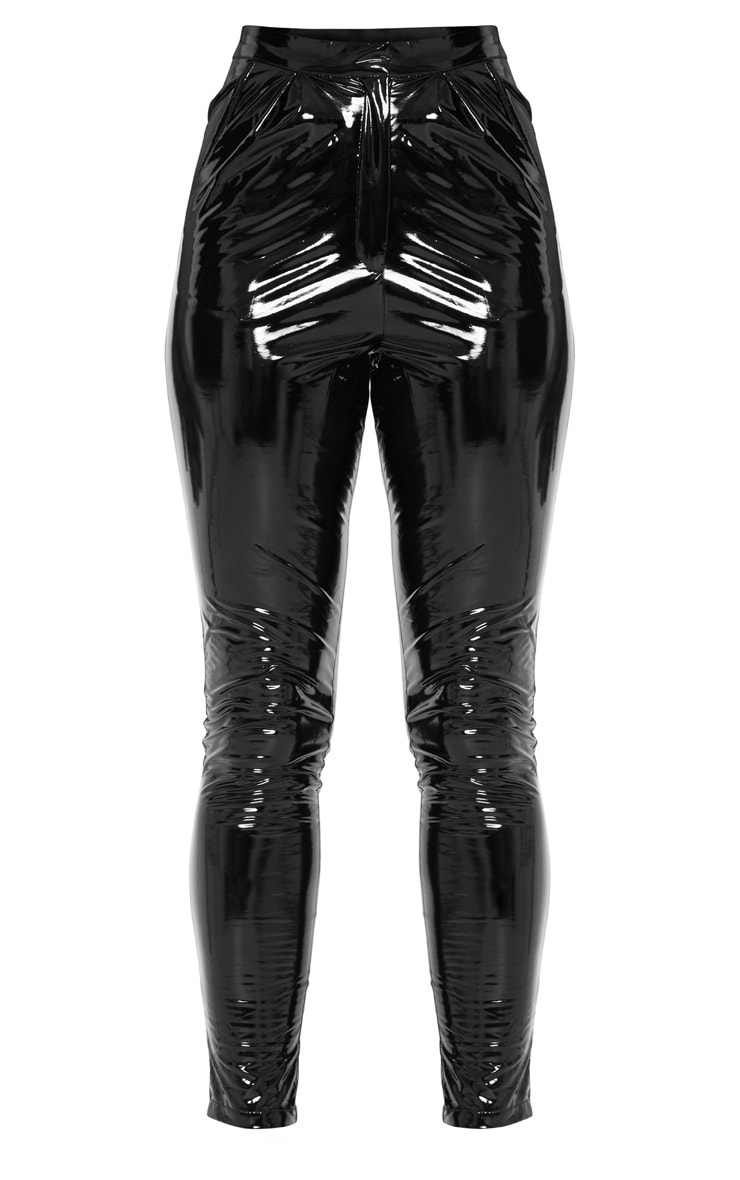 Tall Black Vinyl Slim Leg Pants 4