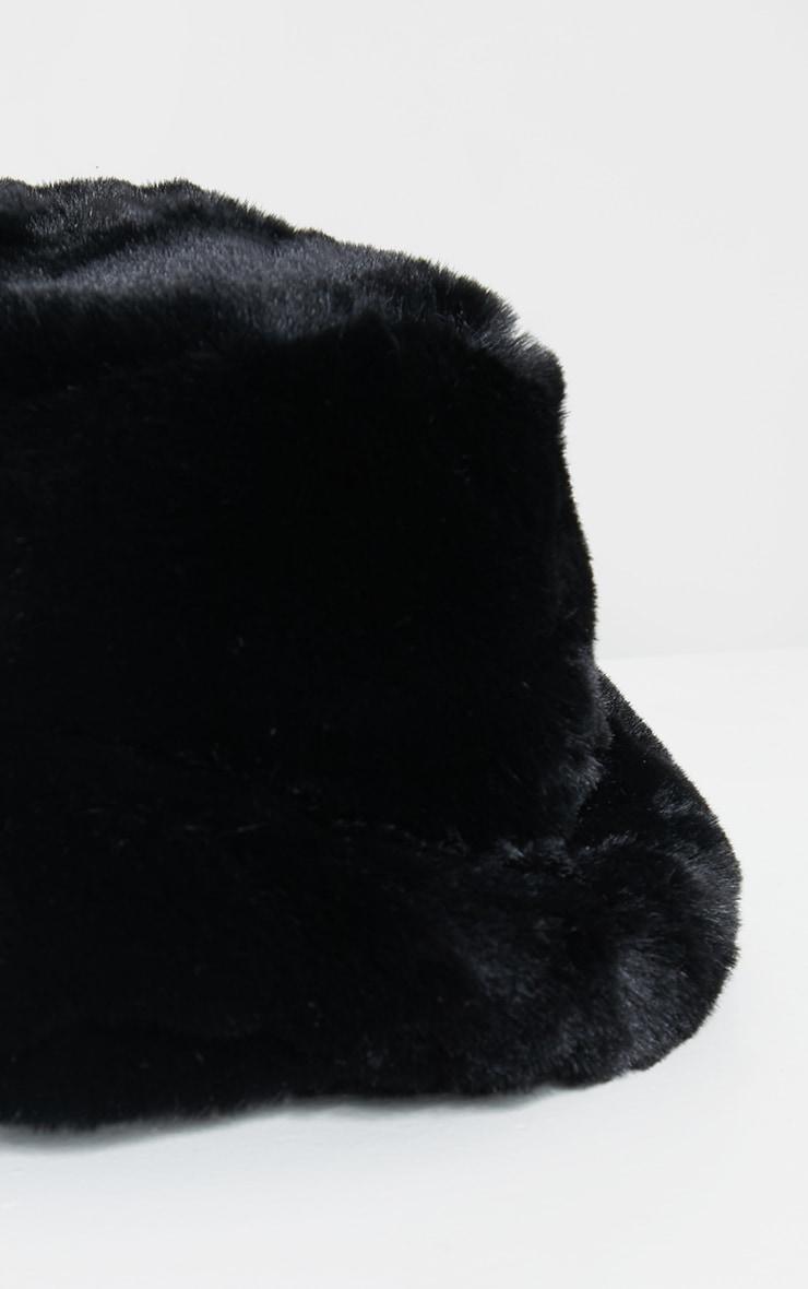 Premium Black Faux Fur Bucket Hat 3