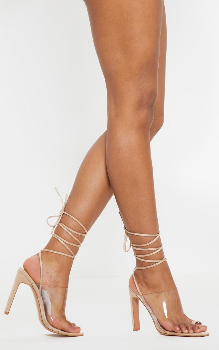 Nude Clear Ankle Tie Toe Loop Sandal 2