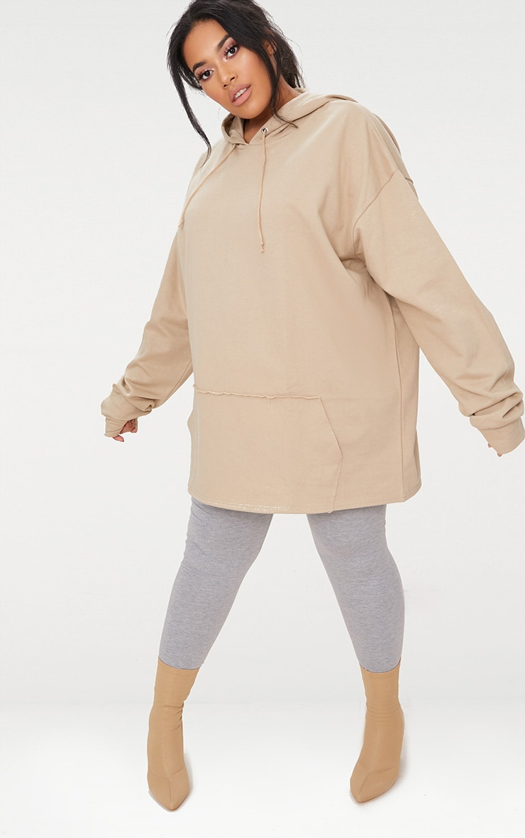 Plus Taupe Oversized Hoodie 4
