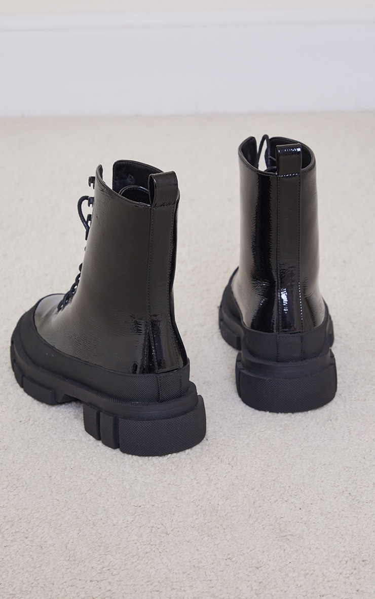 Black PU Lace Up Chunky Cleats Sole Biker Boots 4