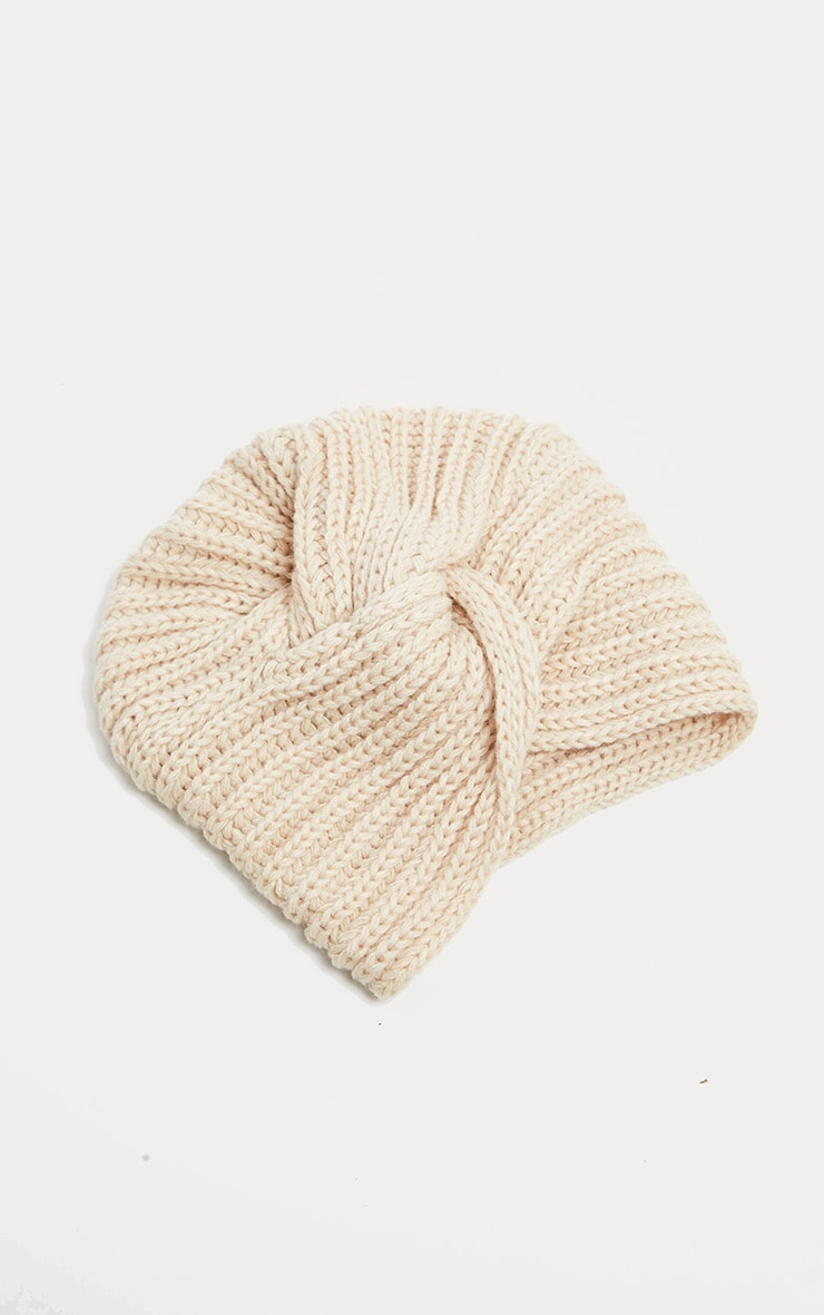 Cream Knitted Knot Turban 2