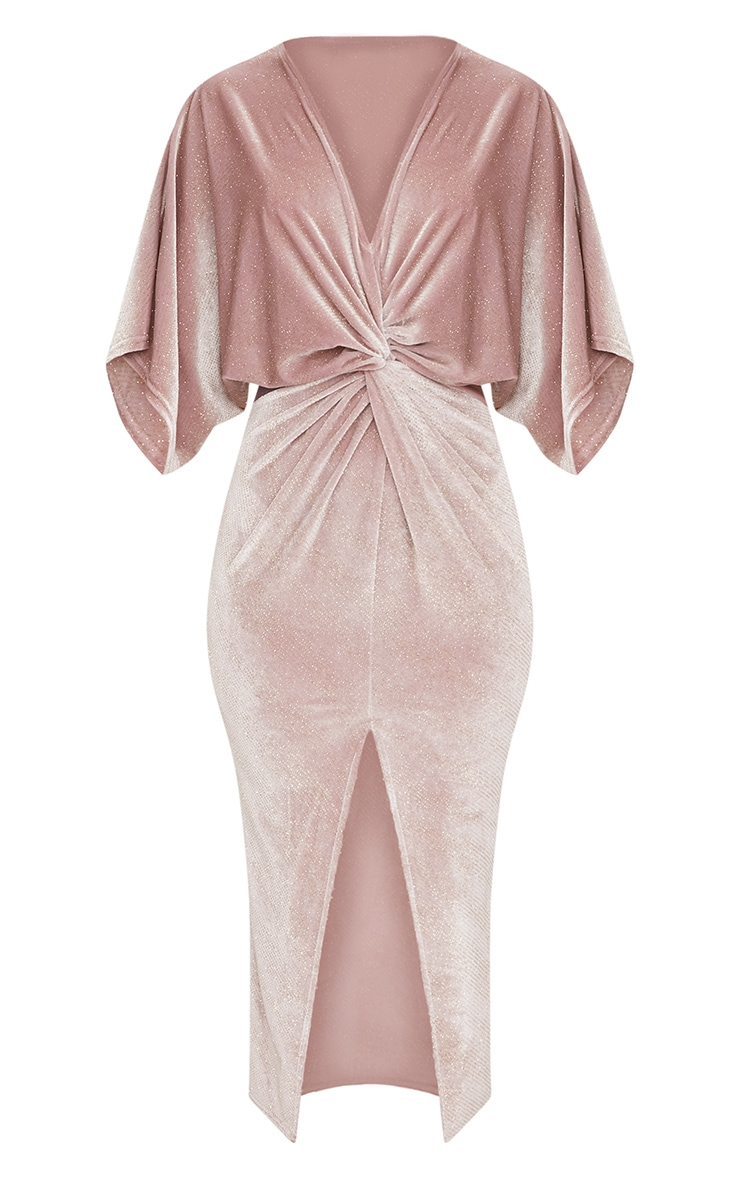 Dusty Pink Plunge Batwing Sleeve Knotted Detail Midi Dress  3