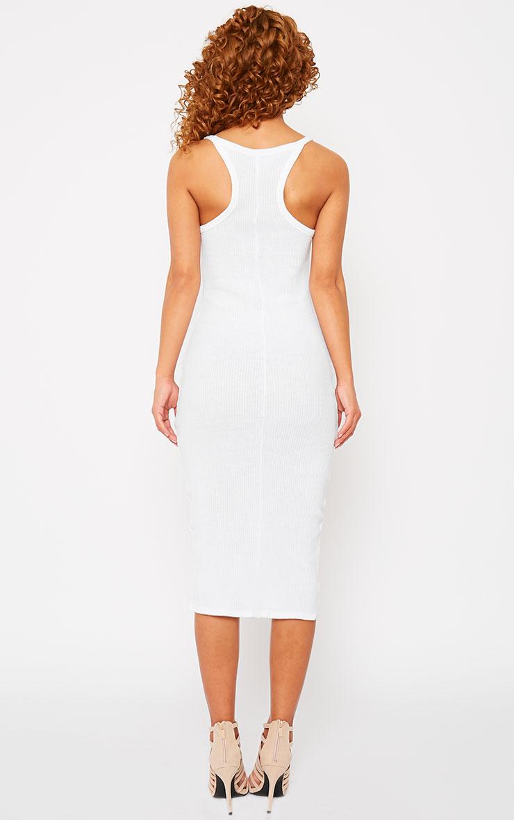 Tasmine White Ribbed Midi Dress 2