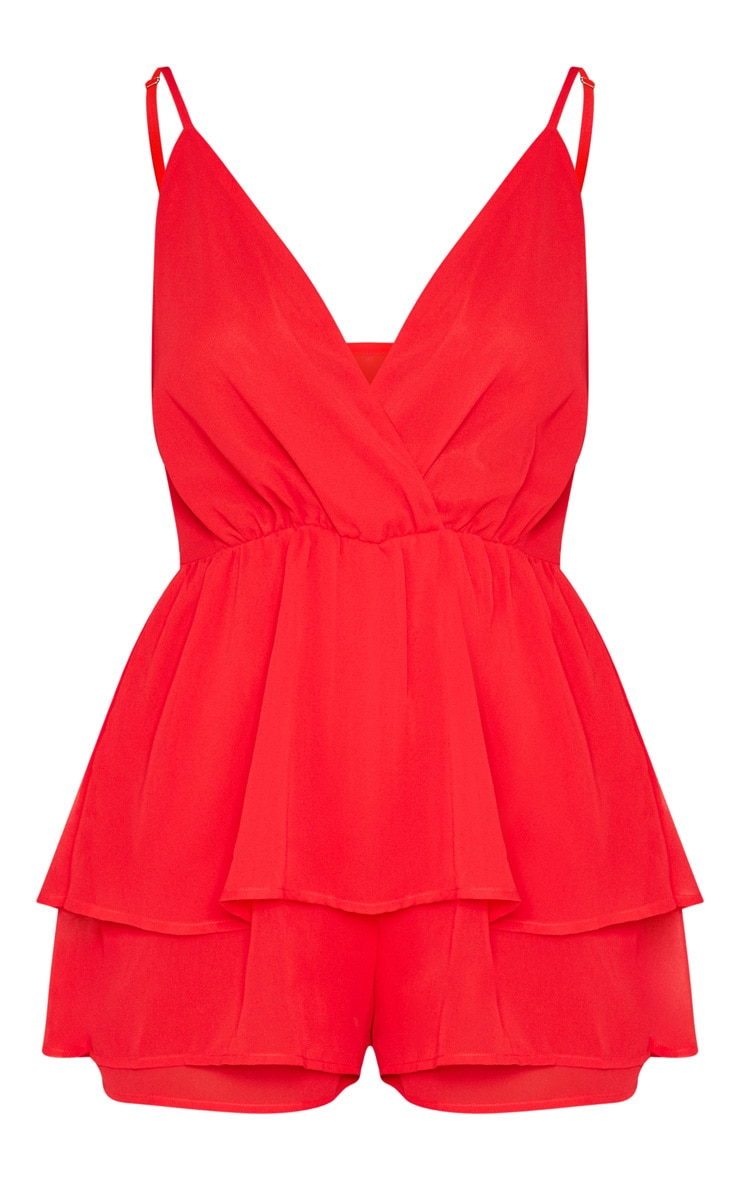 Red Frill Layer Playsuit  3