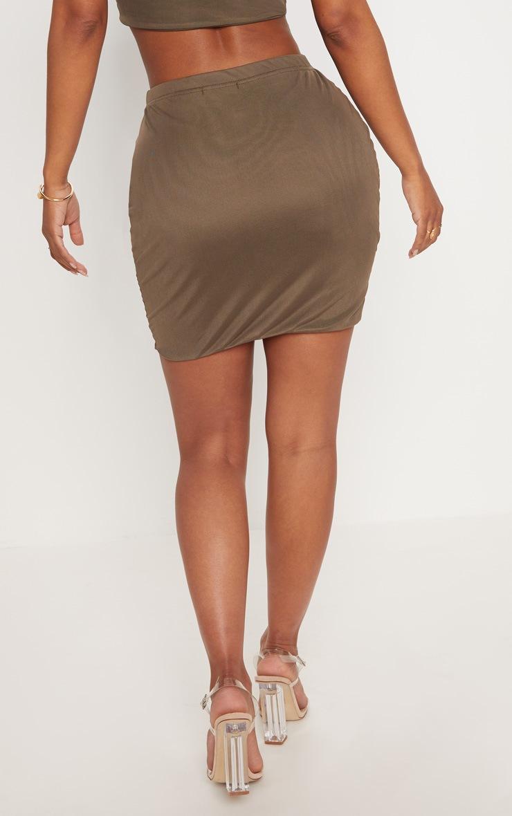Shape Khaki Mesh Bodycon Skirt 4