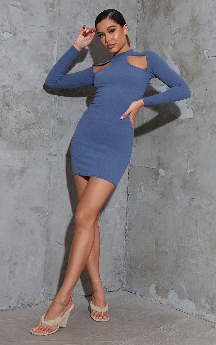 Charcoal Blue Washed Rib Cut Out Chest Detail Long Sleeve Bodycon Dress 3