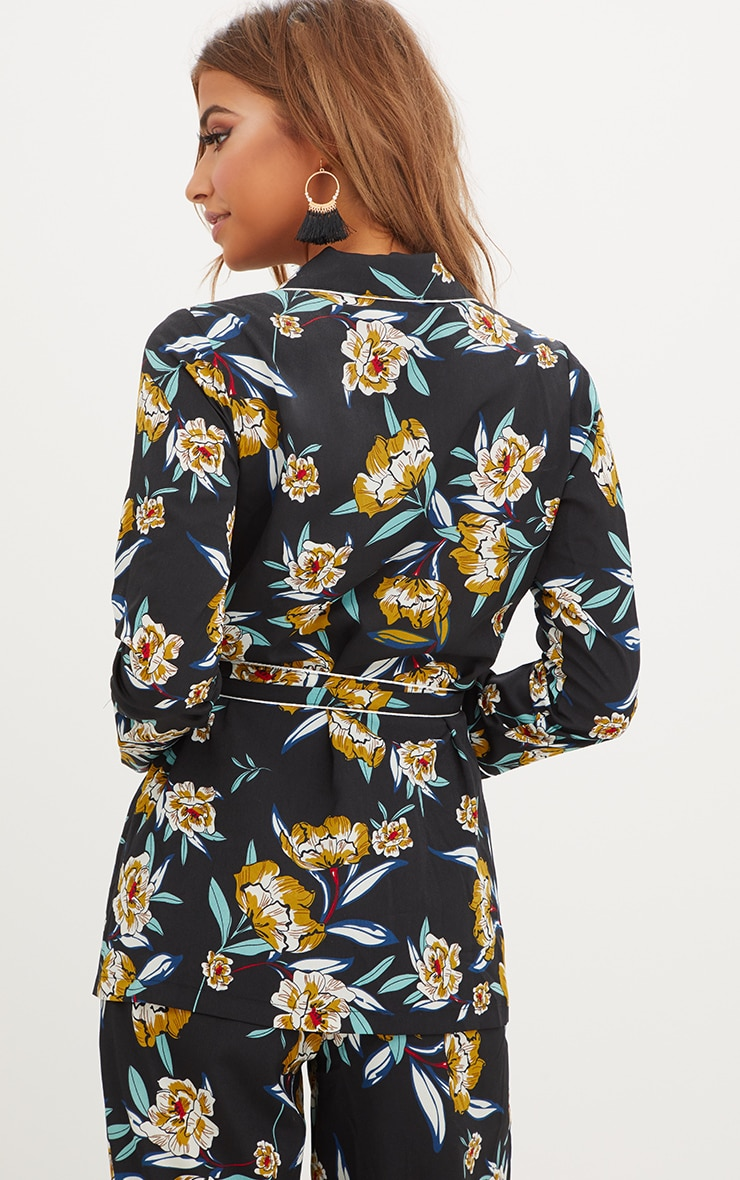 Black Contrast Piping Floral Jacket 2
