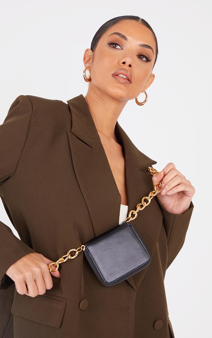 Black PU Gold Chunky Chain Mini Cross Body Bag 1