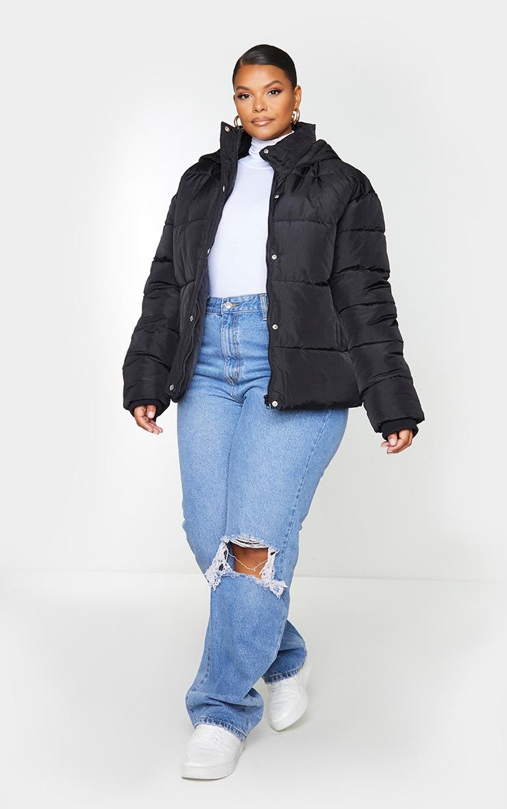 Plus Black Peach Skin Hooded Puffer Jacket 1