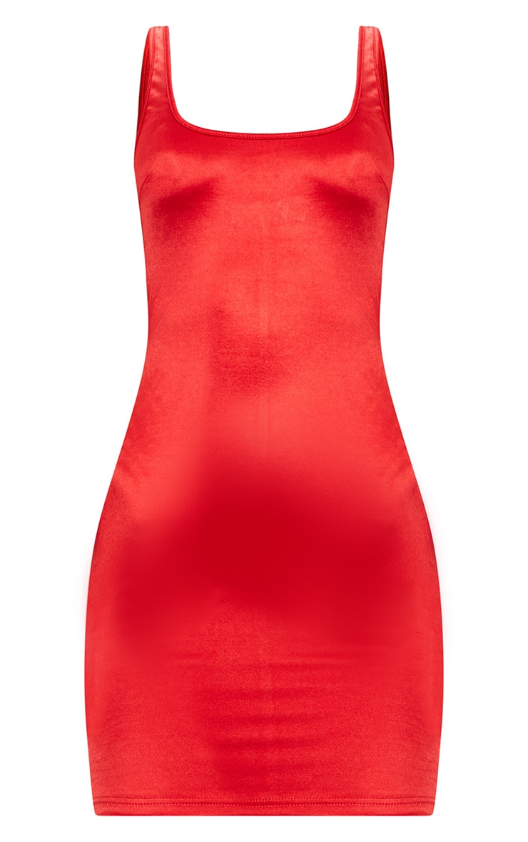 Red Scoop Neck Satin Bodycon Dress  3