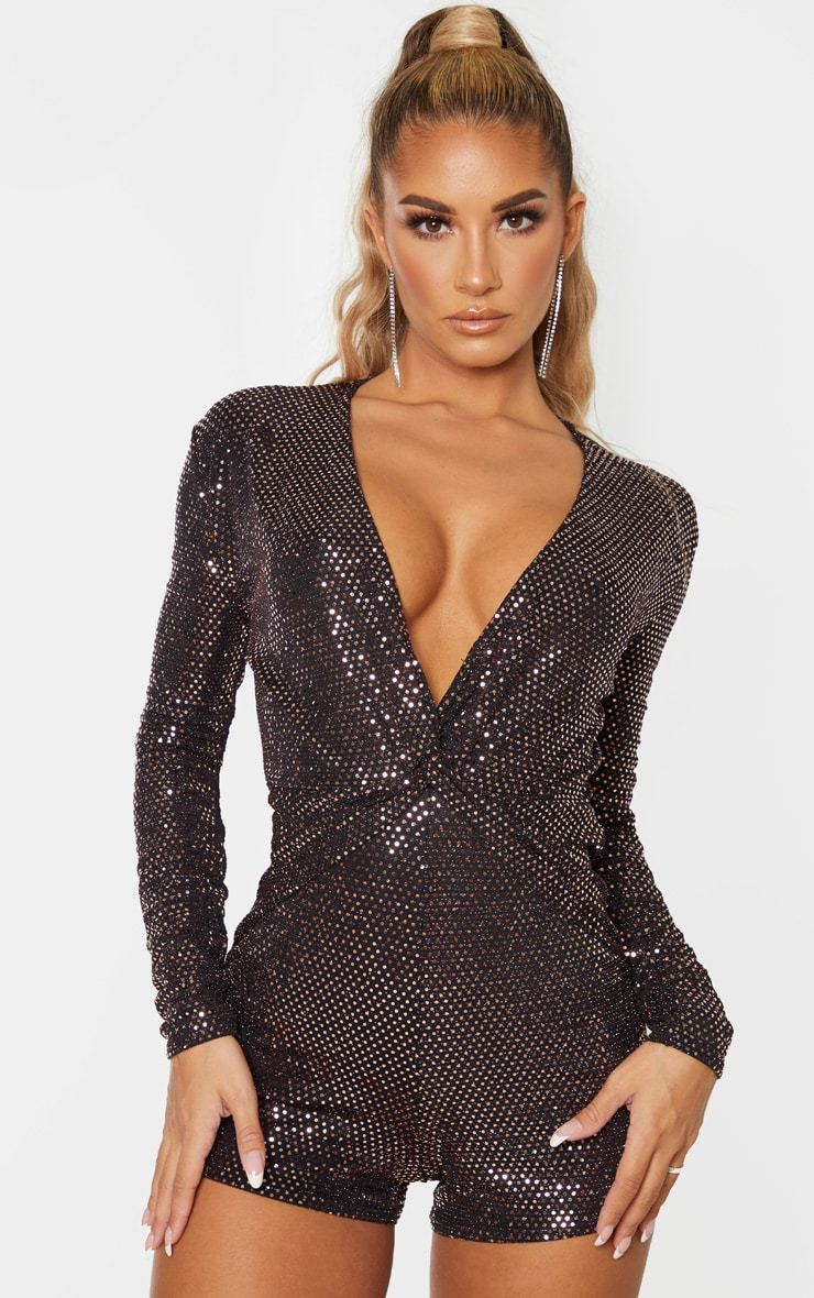 Rose Gold Sequin Twist Front Long Sleeve Playsuit 4
