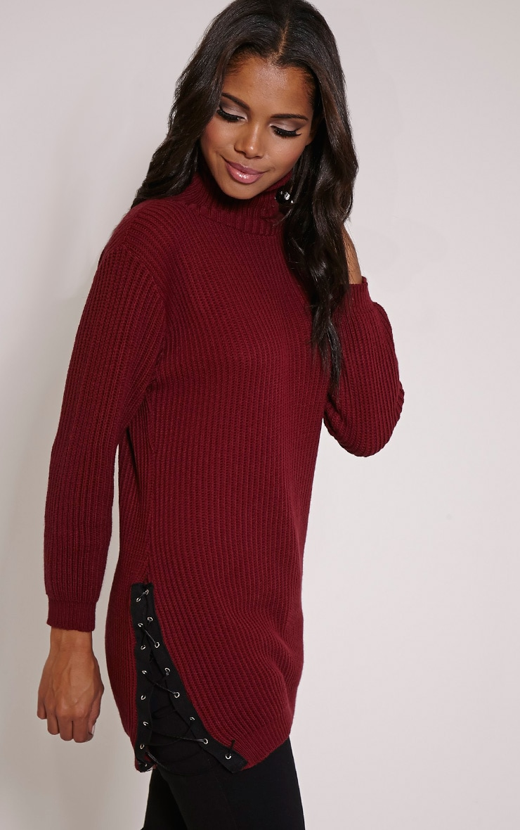 Sarina Burgundy Lace Up Detail Jumper 1