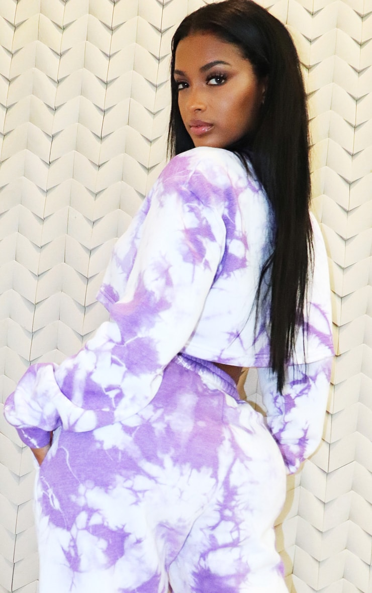 Shape Violet Tie Dye Extreme Cropped Sweater 2