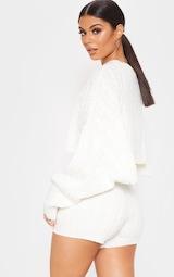 3ec8b693ea43 Cream Over Sized Crop Knit Sweater