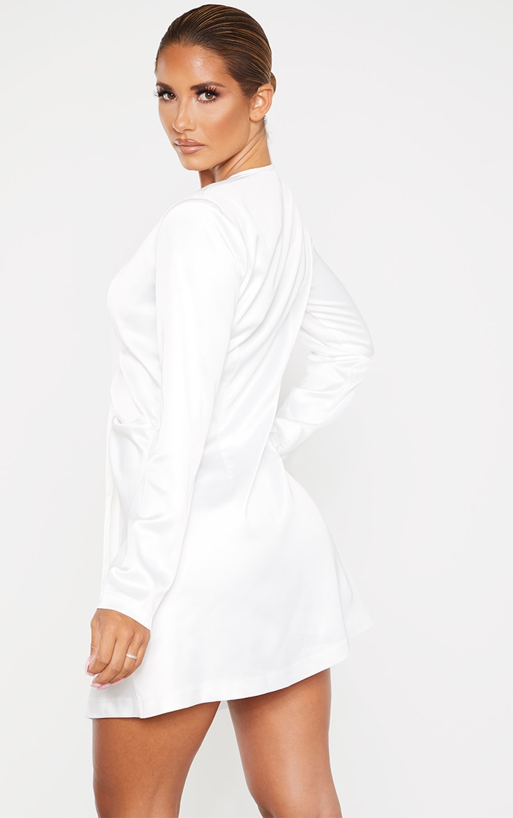 White Extreme Plunge Diamante Drape Shift Dress 2