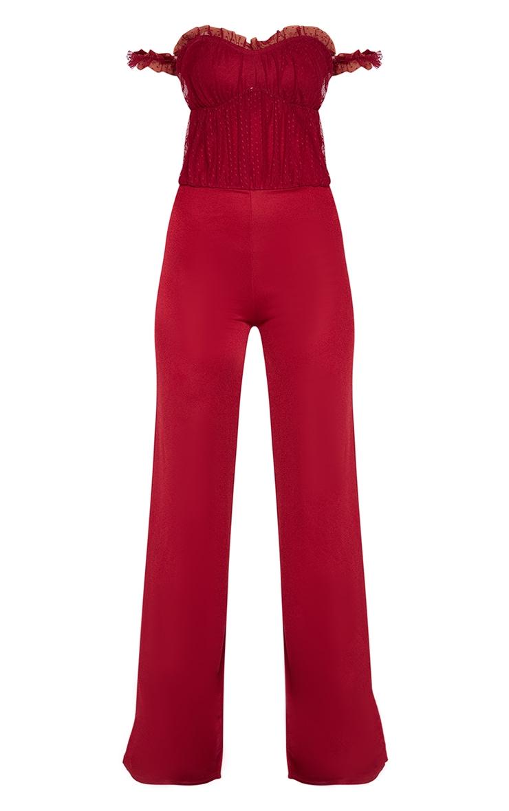 Tall Scarlet Dobby Mesh Bardot Wide Leg Jumpsuit 3
