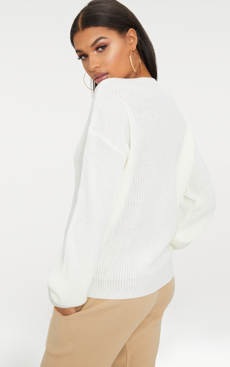 Cream Oversized Balloon Sleeve Jumper 4