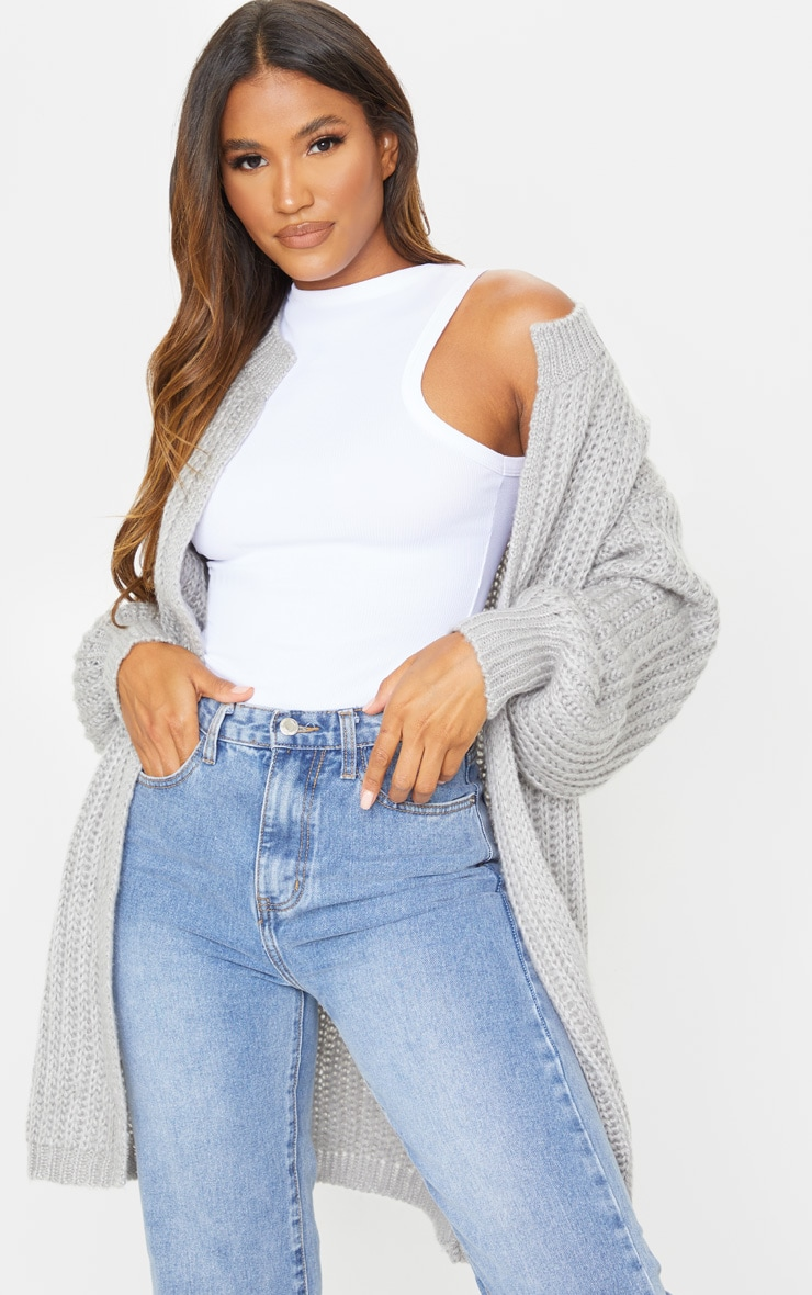 Grey Premium Fluffy Chunky Knit Balloon Sleeve Midi Cardigan 3