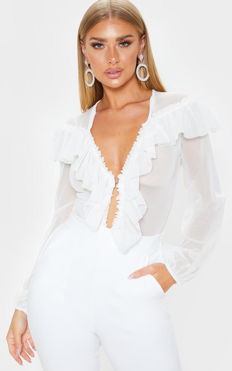 White Ruffle Mesh Plunge Bodysuit 1