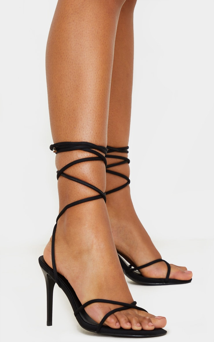 Black Cross Strap Lycra Sandal 1