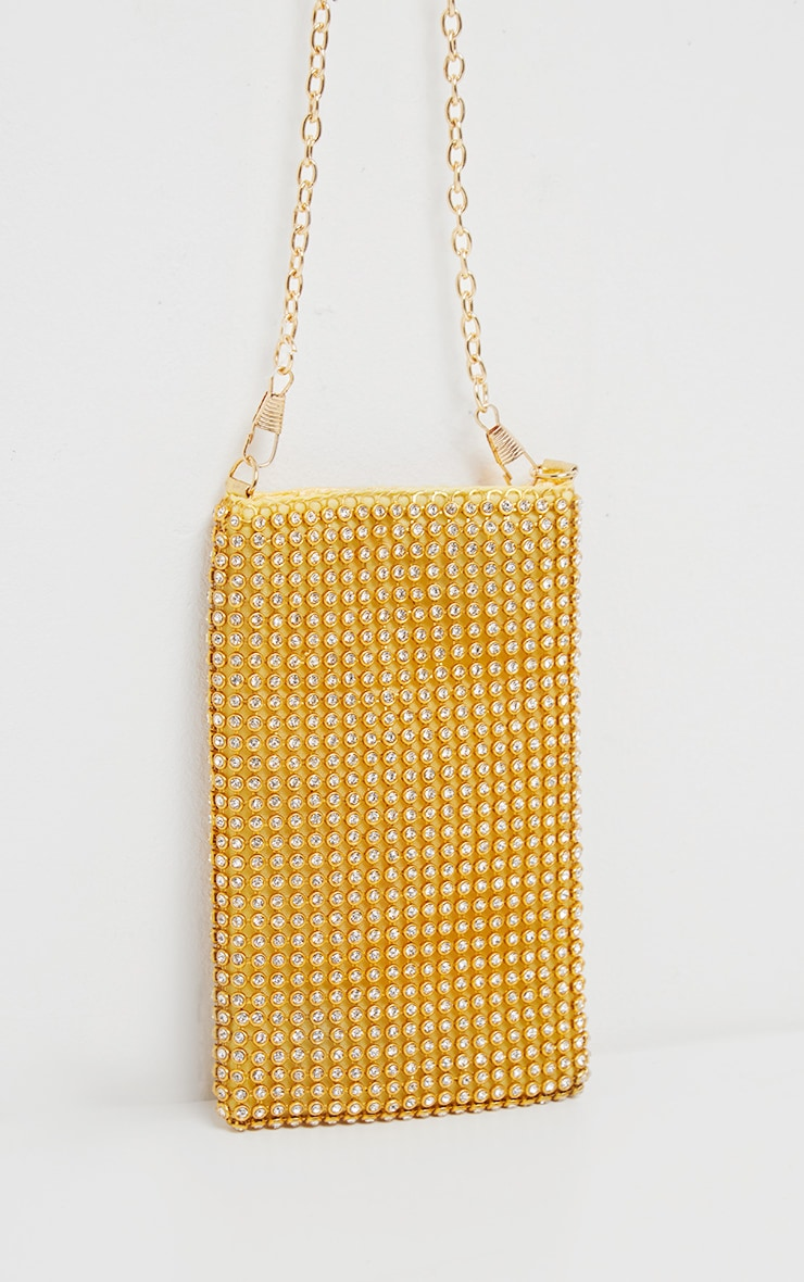 Gold Diamante Style Pouch Bag 2