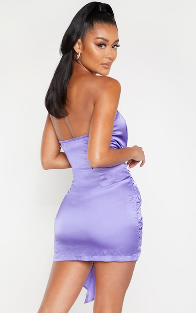 Purple Satin Knot Detail Bandeau Bodycon Dress