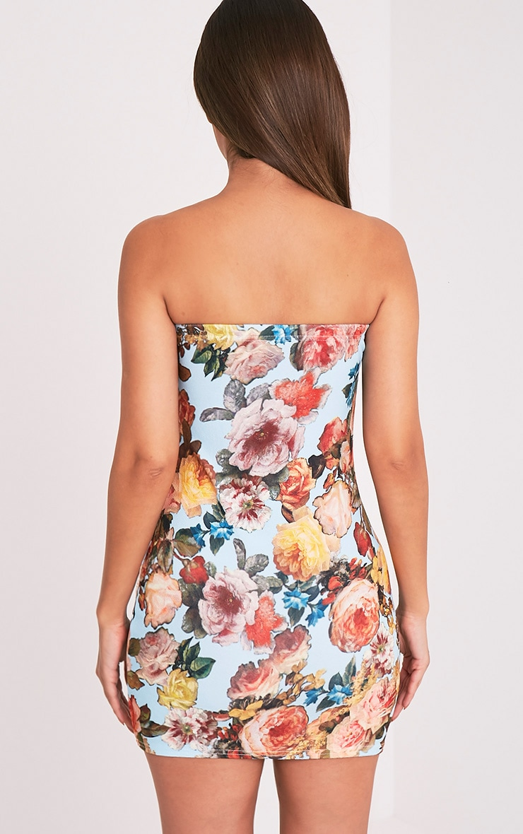 Dayana Blue Floral Print Bandeau Bodycon Dress 2