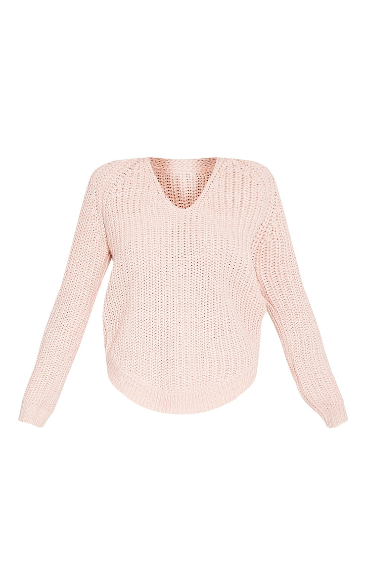 Elania Pink V Neck Cable Knit Jumper 3