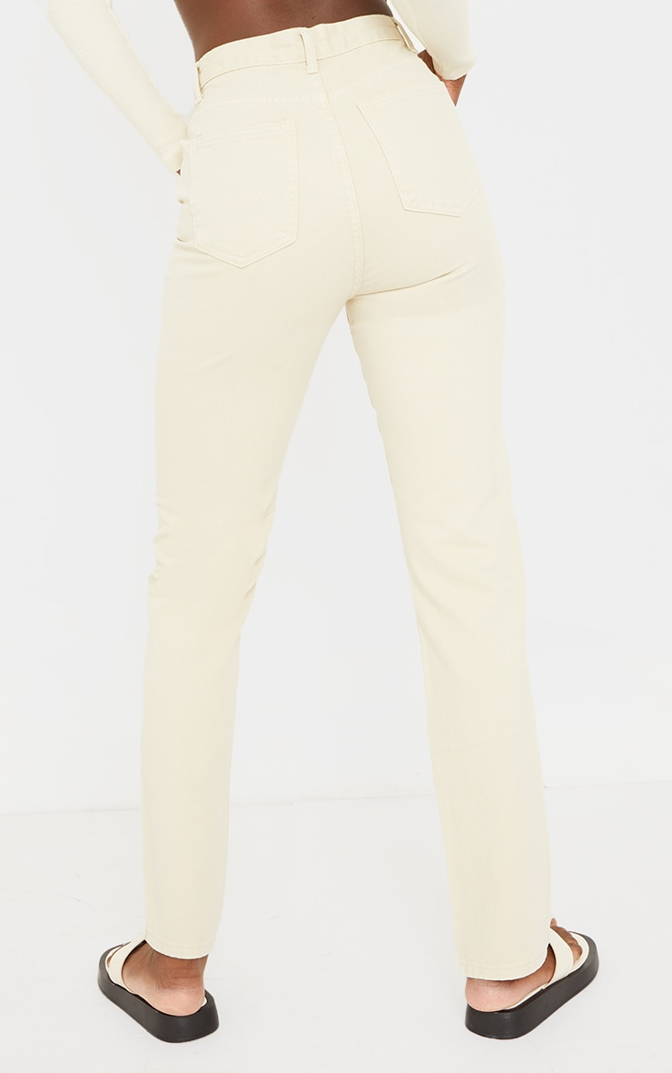 PRETTYLITTLETHING Tall Washed Stone Straight Leg Jeans 3