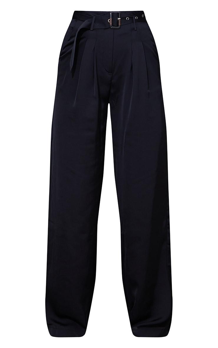 Black Belted Woven Wide Leg Pants 5