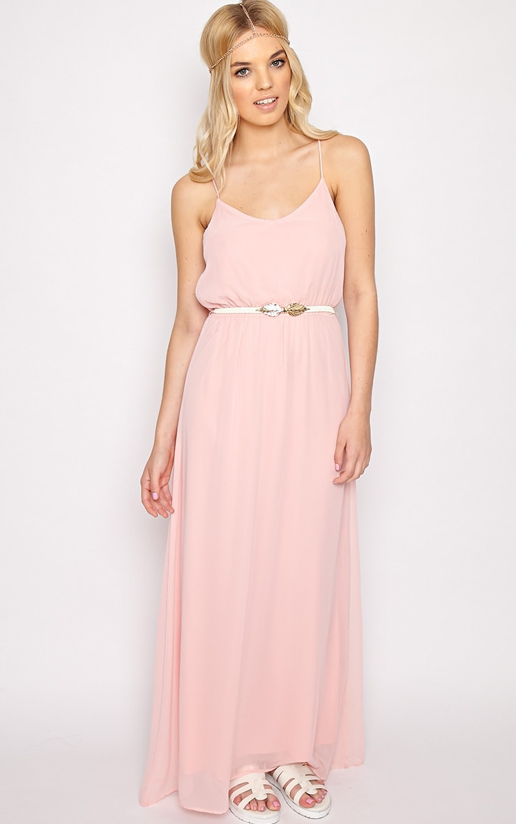 Verity Pink Chiffon Maxi Dress-M 1