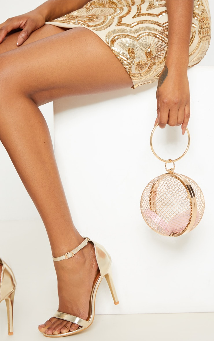 Gold Caged Sphere Clutch