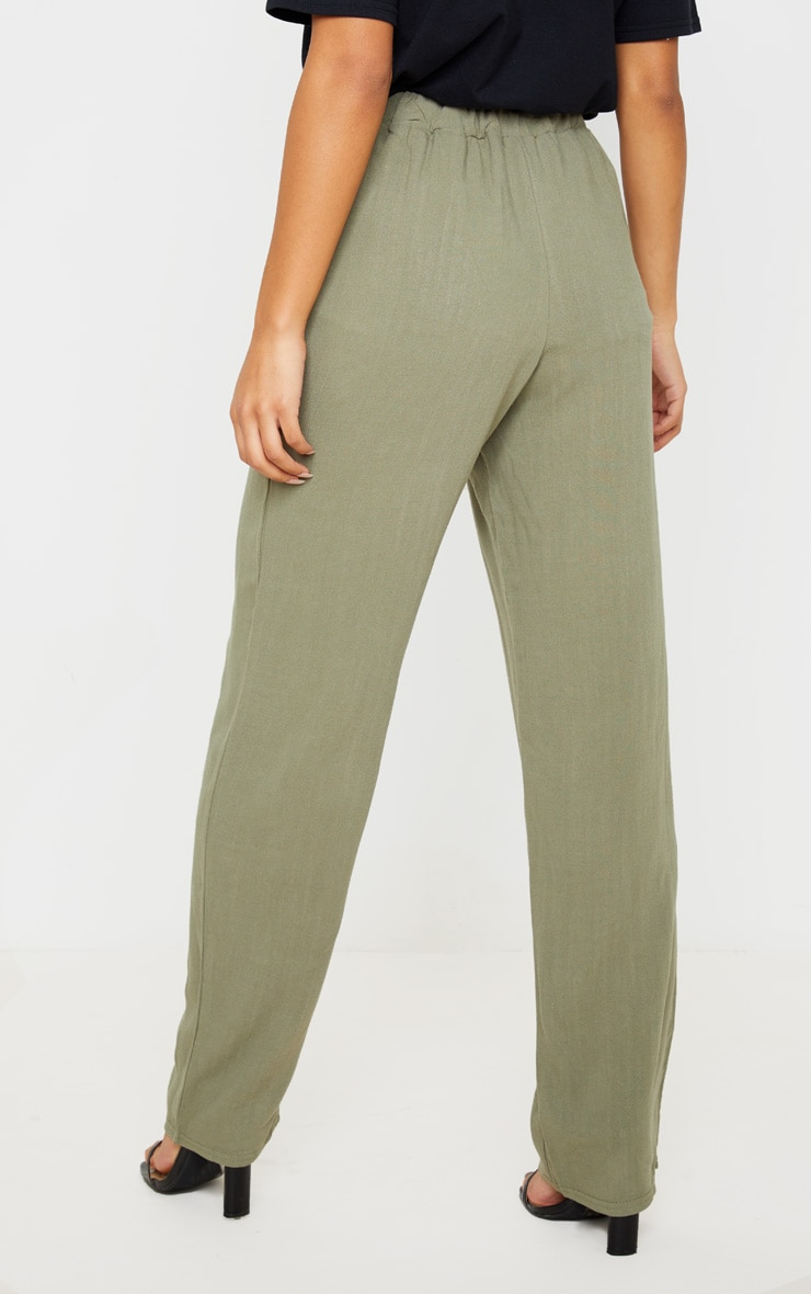 Khaki Drawstring Waist Tapered Pocket Trouser 4