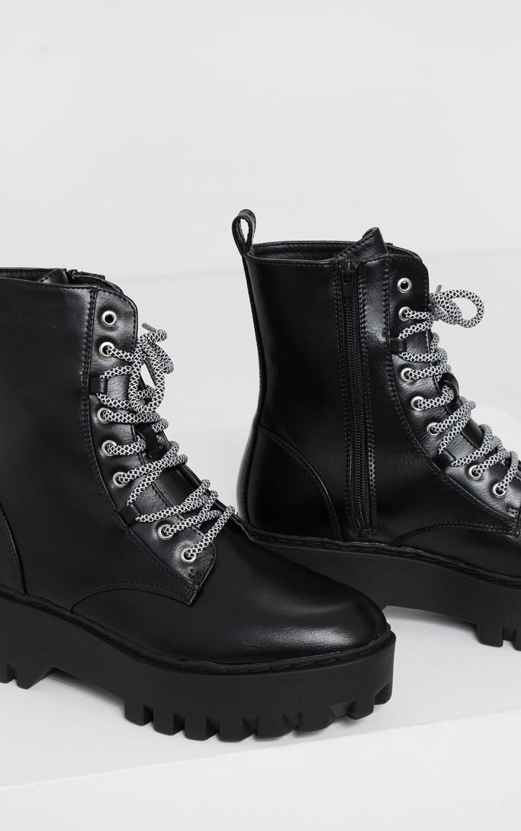 Black PU Hiker Lace Up Chunky Boots 4