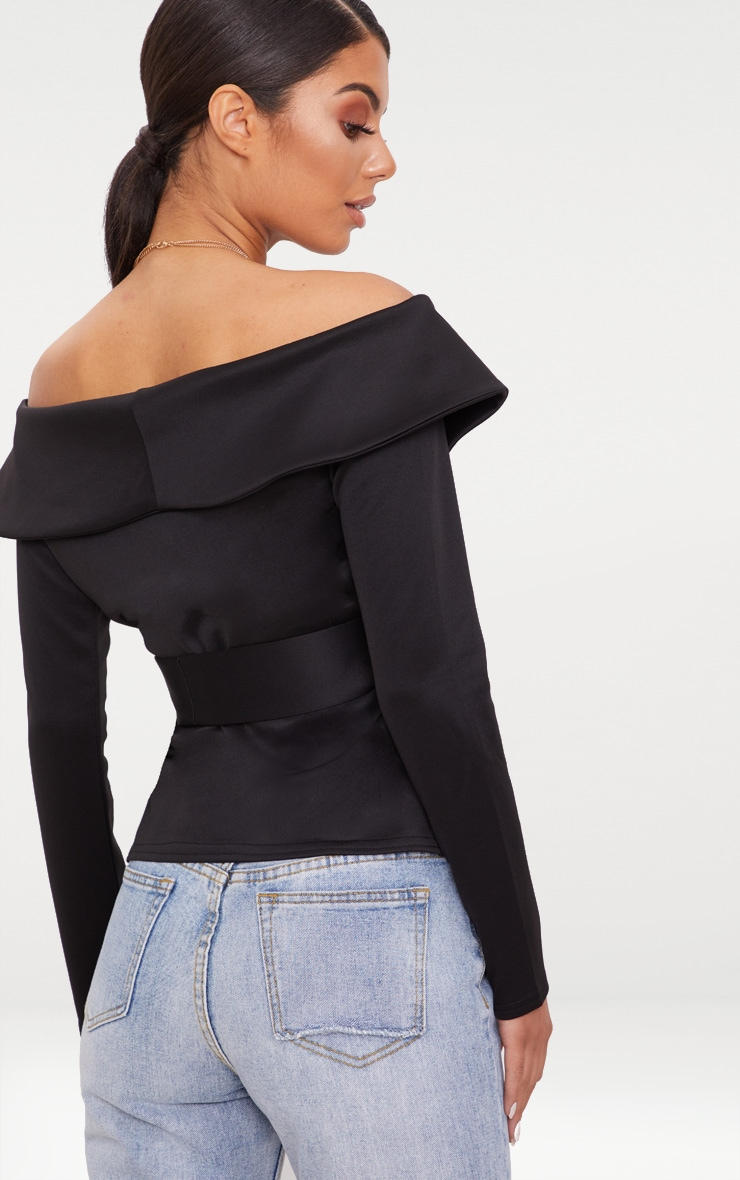 Black Bardot Blazer 2