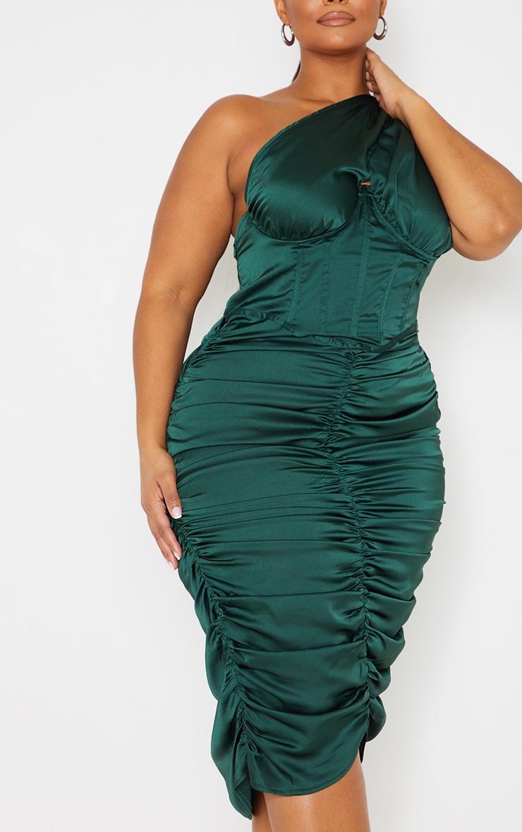 Plus Emerald Green One Shoulder Corset Ruched Satin Midi Dress 4