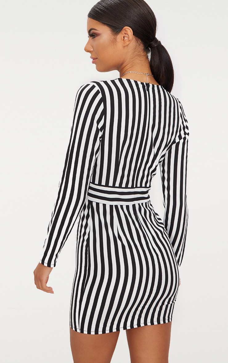 Black Striped Long Sleeved Bodycon Dress 2