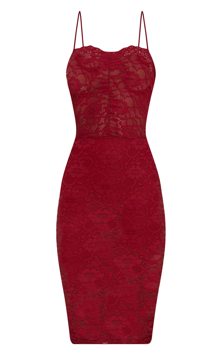 Burgundy Lace Ruched Midi Dress 3
