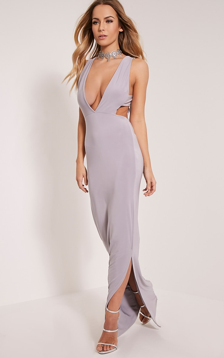 Mayah Grey Deep Plunge Tab Side Maxi Dress 1