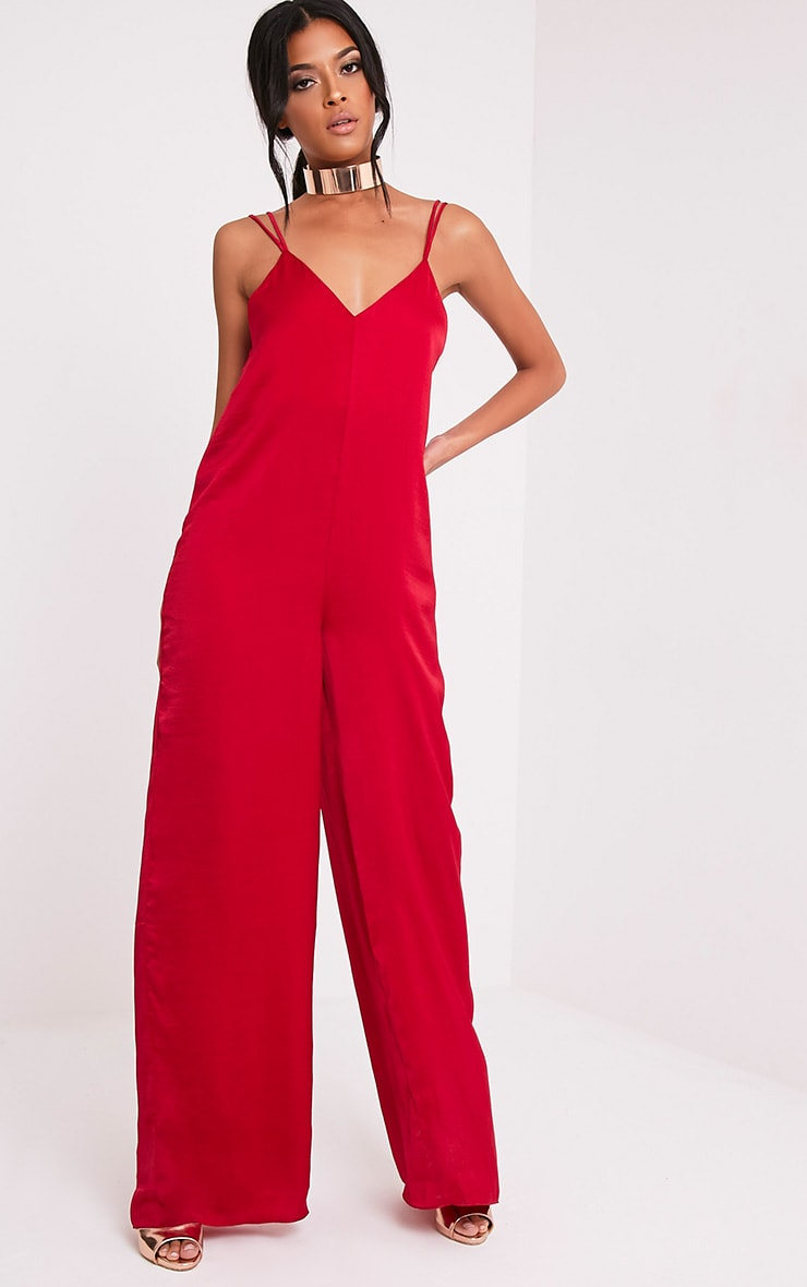 ade2bb3b90 Elisabeth Red Satin Harness Wide Leg Jumpsuit - Jumpsuits ...