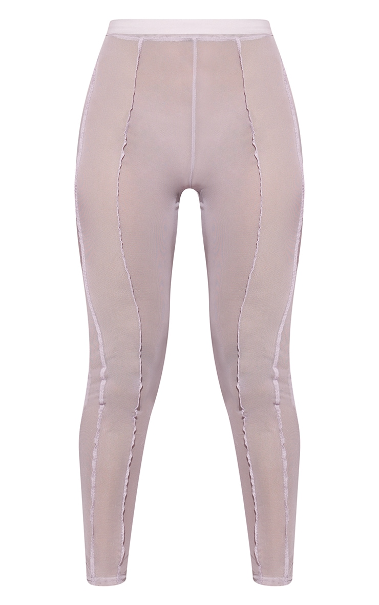 Lilac Sheer Mesh Overlock Detail Leggings 5