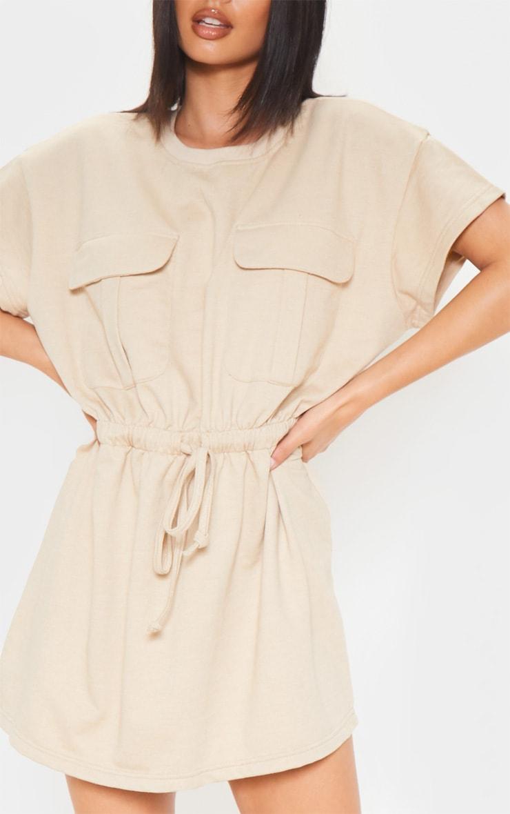 Sand Pocket Front Tie Waist Sweater Dress 5