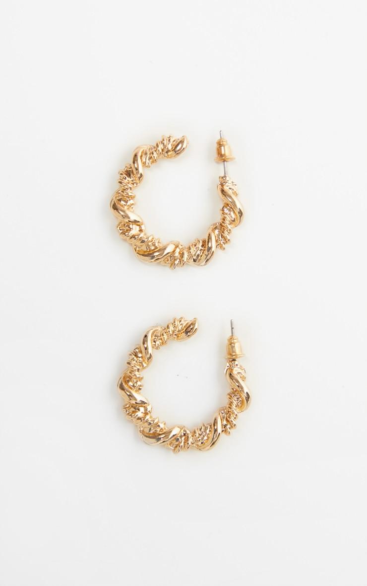 Gold Twist Rope Small Hoop Earrings 3