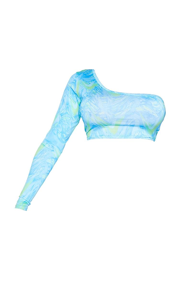 Shape Blue Wave Print Slinky One Shoulder Crop Top 5