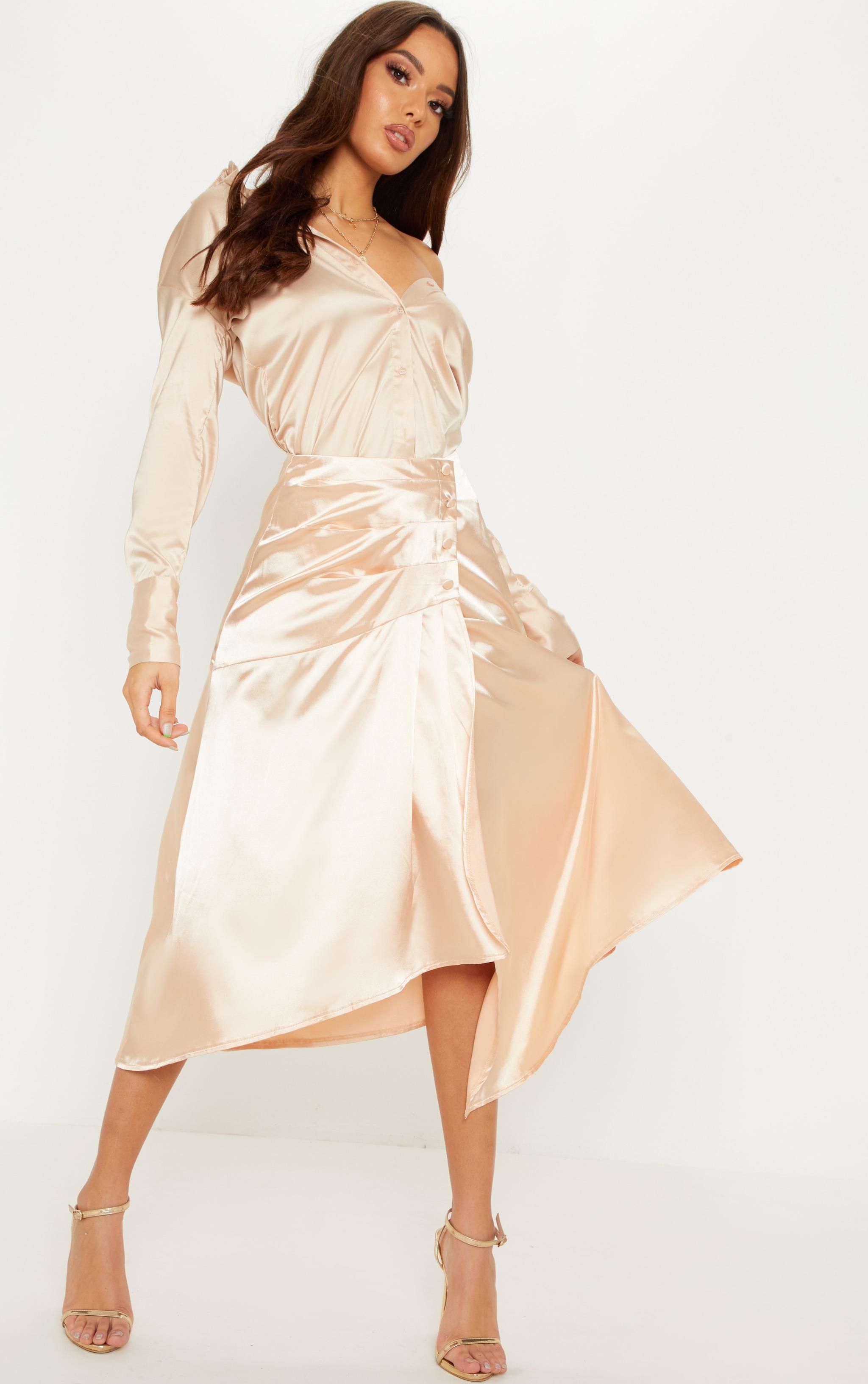 Champagne Satin Button Waist Midi Skirt 1