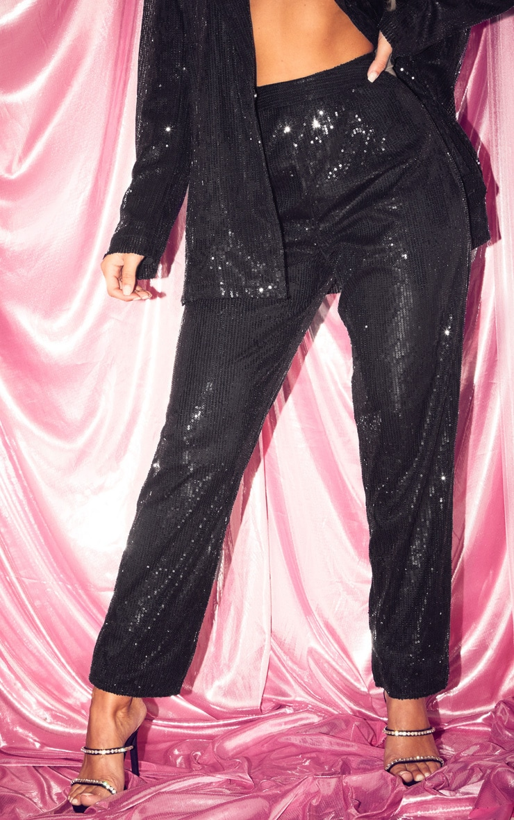 Black Sequin High Waisted Straight Leg Pants 2