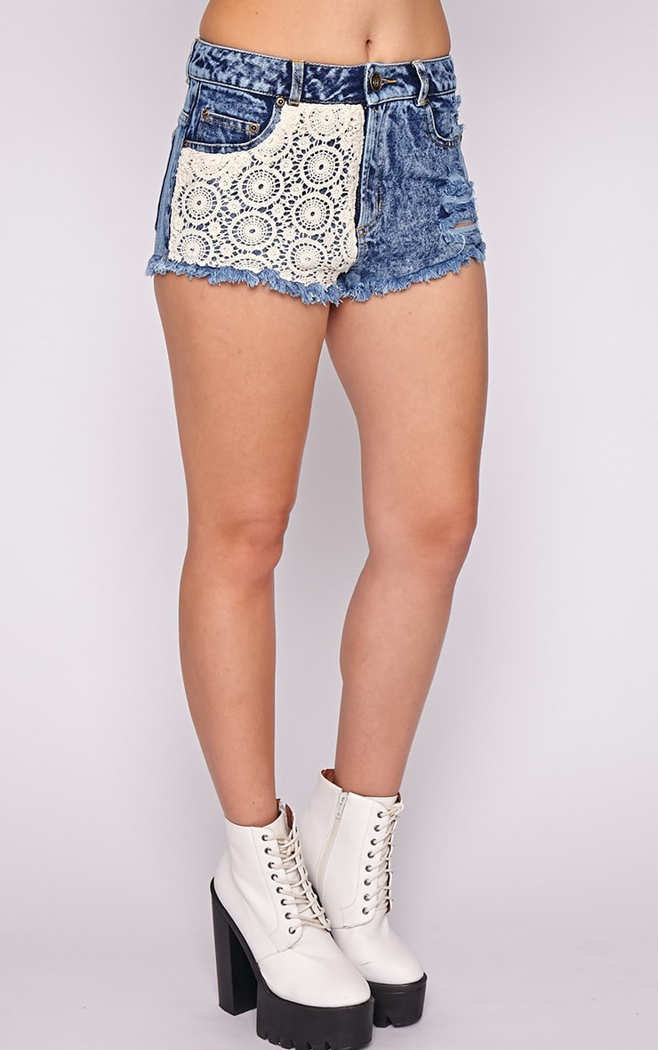 Elsie Crochet Front Denim Hotpant  3